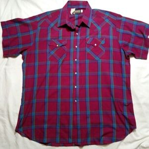 Western Mens Short Sleeve Shirt Sz 18 1/2